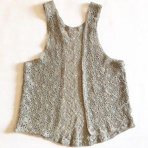 Tops - Boho racerback hand crocheted lace vest